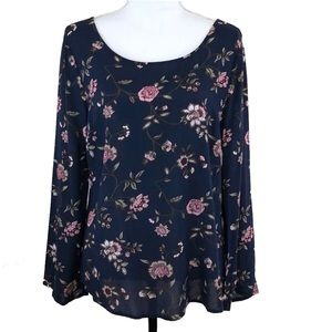 Faded Glory Blouse Criss Cross Back Floral Blue S